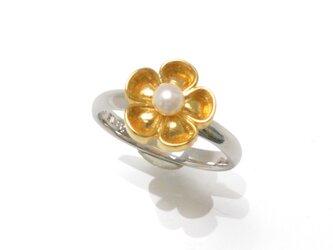《受注制作》SV925淡水真珠のフラワーリング/丸つまみの画像