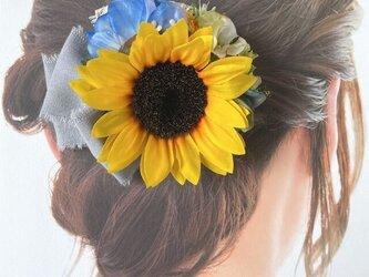 向日葵と水色のお花のヘアクリップ  ナチュラル リボン 向日葵 おでかけ 浴衣 ブルー 髪飾りの画像