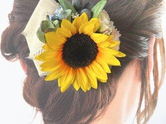 向日葵とエクリュローズのヘアクリップ  ナチュラル リボン 向日葵 おでかけ 浴衣髪飾りの画像