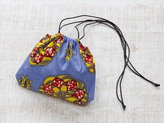 アフリカ布の巾着ショルダー アフリカンプリント / 巾着バッグの画像