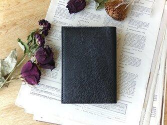 イタリア革の文庫本カバー/黒の画像