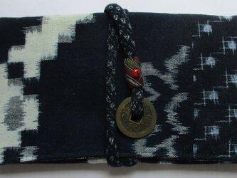 5772 久留米の絵絣と絣で作った和風財布・ポーチ #送料無料の画像