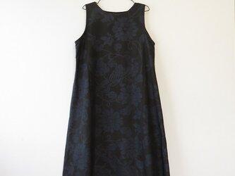 Y様ご予約品*アンティーク着物*花鳥模様泥大島紬のワンピース(Lサイズ・5マルキ)の画像