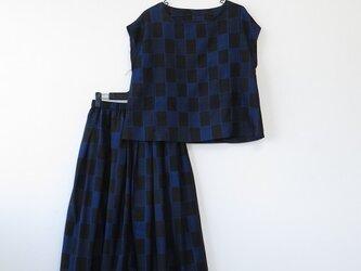 *アンティーク着物*市松模様紬のセットアップ(ゆったりLサイズ・夏裏地付き)の画像