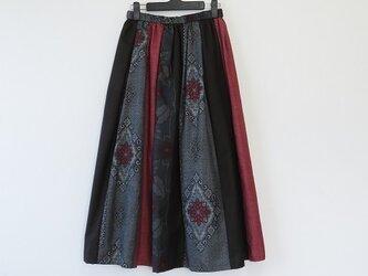 *アンティーク着物*大島紬のパッチスカート(裏地付き)の画像