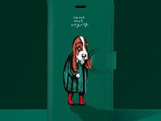 Original手帳型iPhoneケース「犬見知りの犬」の画像