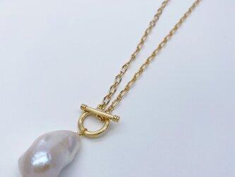 大粒バロック淡水パールネックレス ロング マンテルチェーン 真珠 ドロップ しずく 変形 オイスター 64cmの画像