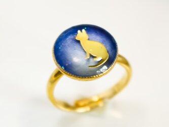 にゃんこRing ブルー×ブルーホワイト ゴールド金具の画像