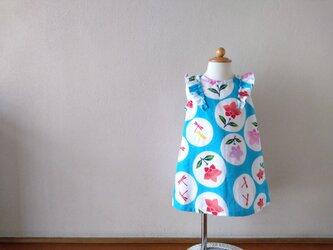 子供 浴衣地フレア袖ワンピース(後ろボタン) 注染水色桔梗 80サイズ〈受注製作〉の画像