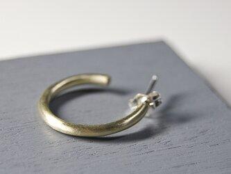 つや消し 真鍮プレーンフープピアス 2.0mm幅 マット|BRASS PIERCE|557の画像