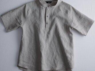 【Lサイズ】【wafu】自分用に3枚いきます。半袖リネンスタンドカラーシャツ 男女兼用/亜麻ナチュラル t038k-amn1-Lの画像