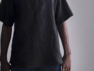 【Sサイズ】【wafu】自分用に3枚いきます。半袖リネンスタンドカラーシャツ 男女兼用/黒色 t038k-bck1-Sの画像