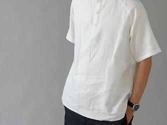 【Lサイズ】【wafu】自分用に3枚いきます。リネンスタンドカラーシャツ 半袖 男女兼用/ホワイト t038k-wht1-Lの画像