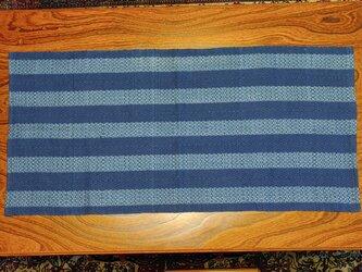 本藍染め 模様織 テーブルセンター MAT205の画像