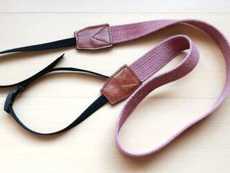 ストーンウォッシュ調コットン & 本革 カメラストラップ ピンク #95の画像
