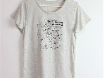 M 猫いっぱい Tシャツの画像