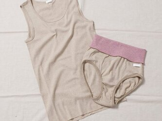 グリーン×ブラウン綿 はらまきショーツ(カラー:ピンク)の画像