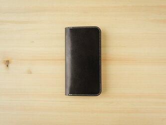 牛革 iPhone12/12Pro カバー  ヌメ革  レザーケース  手帳型 ブラックカラーの画像