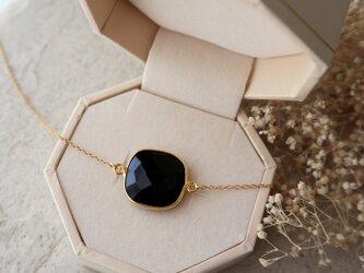 【14kgf】ブラックスピネルの一粒ネックレス(スクエアカット)*8月誕生石の画像