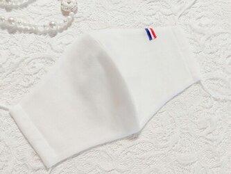夏用 フレンチデザイン トリコロール ホワイトマスク オーガニックコットン使用の画像