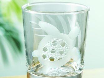 ハワイアンスタイル 東京切子(花切子)ロックグラス ホヌ しあわせ籠目の画像
