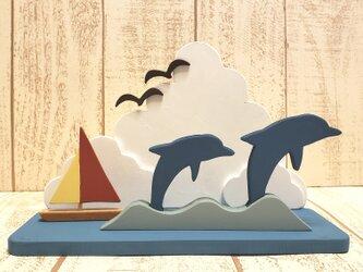 受注制作☆夏☆入道雲とイルカとヨットの置物☆海☆夏休み☆の画像