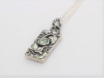水晶×白蝶貝のミラーペンダント「蓮と菩提樹」【hr83】の画像