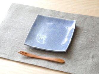 海碧貫入釉の四方小皿の画像