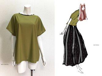 【1点もの・デザイン画付き】天竺ニット抹茶色ゆったり着物袖トップス(KOJI TOYODA)の画像