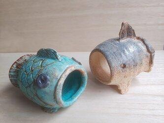 陶器のマンボウシェルター 魚、爬虫類、両生類、小動物の隠れ家にもの画像