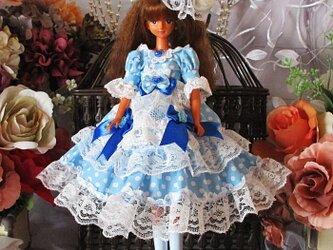アリスの世界へ誘う水色ドットのロリータワンピースドレス 豪華4点セットの画像