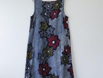 S様ご予約品*アンティーク浴衣*花模様有松鳴海絞りのワンピース(Lサイズ・リボン付き)の画像