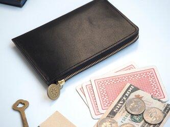 L字ファスナー スリム財布(ブラック)牛革 レディース メンズの画像