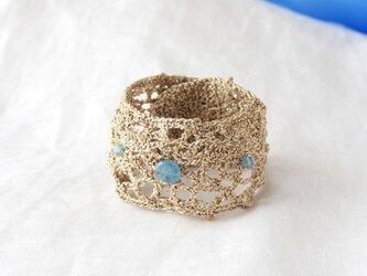Crochet Gold Bracelet(Aquamarine)の画像