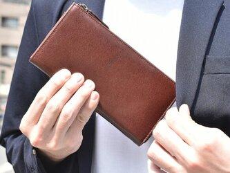 オールレザー 長財布 財布の中を整理整頓 高級感 大人 ビジネス財布 Brandy ギフト HAW009の画像