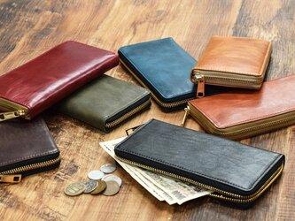 姫路産 馬革 コードバン 大きく開き綺麗に収納 ラウンドファスナー 長財布 6カラー JAW013の画像