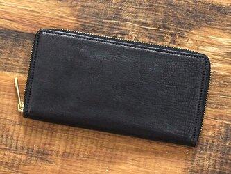 姫路産 馬革 コードバン 大きく開き綺麗に収納。 ラウンドファスナー 長財布 ブラック JAW013の画像