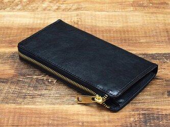 姫路産 馬革 コードバン 大容量収納 L字ファスナー長財布 ブラック 本革 JAW014の画像