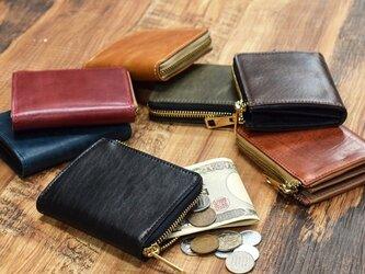 姫路産 馬革 コードバン ミニ財布 整理しやすい L字ファスナー コンパクト 6カラー 本革 JAW015の画像