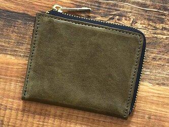 姫路産 馬革 コードバン ミニ財布 整理しやすい L字ファスナー コンパクト オリーブ 本革 JAW015の画像