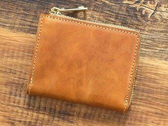 姫路産 馬革 コードバン ミニ財布 整理しやすい。 L字ファスナー コンパクト キャメル 本革 JAW015の画像