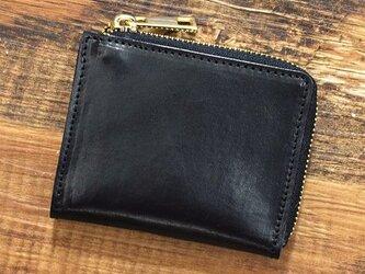 姫路産 馬革 コードバン ミニ財布 整理しやすい L字ファスナー コンパクト ブラック 本革 JAW015の画像