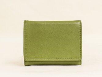 手のひらサイズの三つ折りコンパクト財布 手に馴染むサイズ感 10箇所収納 本革 ギフト グリーン TOW001の画像