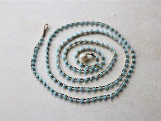 アンティークビーズ シルク糸編ネックレス 70cm 水色(antique2)の画像