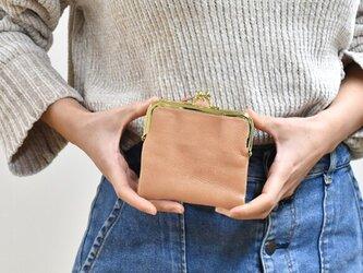 がま口 二つ折り財布 柔らかいヌメ革 コイン仕切り ベジタブルタンニン ピンクベージュ HAW022の画像