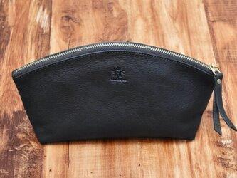 ポーチ 上質で柔らかいヌメ革 大容量 ペンケース 化粧ポーチ 本革 チョコ HAK058の画像