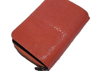泳ぐ宝石 エイ革 ガルーシャ レディース・メンズ 大容量のミニ財布 コンパクト オールインワン財布 オレンジ ポリッシュの画像
