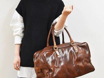 ショルダー付き ボストンバッグ ビジネスバッグ 旅行かばん 大容量 内ポケット 本革 ブラウン HAB014の画像