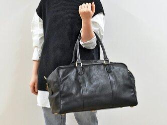 ショルダー付き ボストンバッグ ビジネスバッグ 旅行かばん 大容量 内ポケット 本革 ブラック HAB014の画像