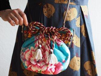 台湾花柄猫型巾着ショルダーバッグ(一点作品/送料無料)の画像